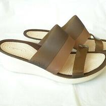 Crocs Comfortable Brown Straps Women Wedge Sandals Open Toe 2