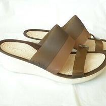 Crocs Comfortable Brown Straps Women Wedge Sandals Open Toe 2