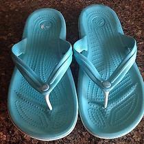 Crocs Crocband Flip Flop Thing Sandals Mens Sz 8 Wonens Sz 10 Aqua Blue Photo