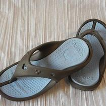 Crocs Disney Mickey Mouse Flip Flop Thong Sandals Size Womens 6 Brown & Blue Photo