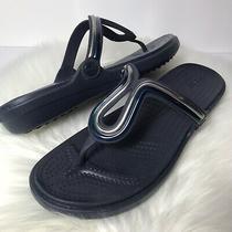Crocs Dual Comfort Wedge Thong Sandals Sz 11 Blue Silver Embellished  Photo