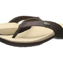 Crocs Ella Flip-Flops Comfortpath W/leather - Mahogany/ Mahogany - Women Size 8 Photo