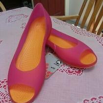Crocs Everleigh Open Toe Fuchsia/ Mango Flats Shoes Women's Us Size 10 Uk 8 Nwt Photo