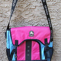 Crocs Girl Kids Pink Blue School Backpack Travel Book Shoulder Computer Bag  Photo