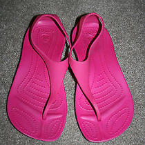 Crocs Girls Womens Pink Sexi Flip Flops Sandals Size 3 4 Worn Once Photo