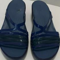 Crocs Iconic Comfort Sz W10 Strappy Slide Wedge Sandals Blue Navy Photo