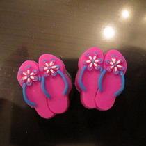 Crocs Jibbitz Brand Shoe / Bracelet Charms - Pink Blue White Flip Flops 2 Pieces Photo