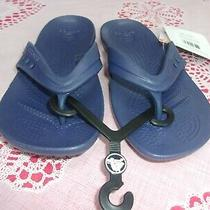 Crocs Kadee Nautical Navy Relaxed Fit Flip-Flop Sandals Kids Women's Us Size 4  Photo