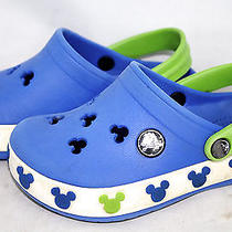 Crocs Kid's Sz C 8/9 (Ages 1-5) Mickey Crocband Clogs Blue Photo