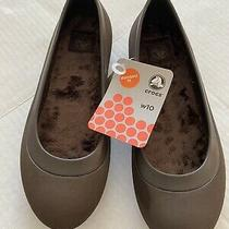 Crocs Mammoth Womens Dark Brown Faux Fur Lined Ballet Flats Shoes Size 10 Nwt Photo