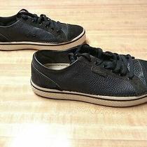 Crocs Mens Black Leather Lace-Up Sneakers Suede Cap Toe Low Top Men's Size 11 Photo