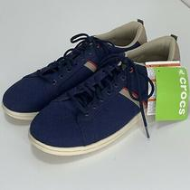 Crocs Mens Torino Sneakers Navy Blue Canvas Lace Up Shoes 11 Nwt Photo