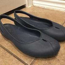 Crocs Olivia Ii Navy Blue Sling Back Ballet Flats Shoe Sz 10 Peeptoe Photo