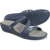 Crocs Patricia Wedge Sandals Color Navy Women's Size 8 New With Tags. Photo