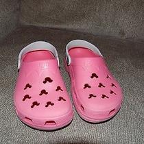 Crocs Pink & White Mickey Mouse Shoes Size 5 Women's Euc Photo