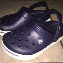 Crocs Rubber Blue & White Clogs Size 3 Like Nw Condition Worn Twice Photo
