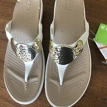 Crocs Sandals Sanrah Embellished Wedge Flip Size 10 Photo