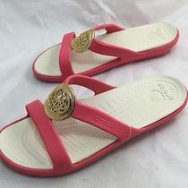 Crocs Sanrah Circle Coral Slide Sandals With Goldtoned Accent Sz 8 M (A1481t) Photo