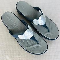 Crocs Sanrah Navy Blue Wedge Thong Sandals Silver Medallion Shoes Women's 11 Photo