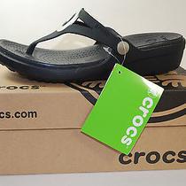 Crocs Sanrah Wedge Flip Flop (Women's) All Black Size W8 Photo