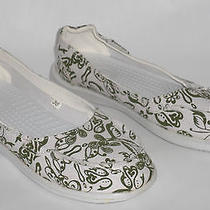 Crocs Santa Cruz White Print Canvas Ballet Flats Size 6 Photo