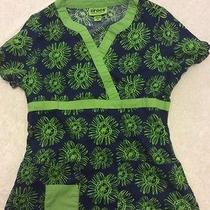 Crocs Scrub Top Xs Womens Blue Green Modern Floral Nursing Photo
