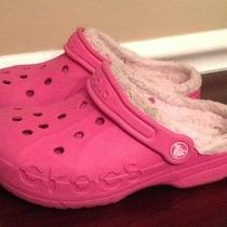 Crocs Shoes Girls Size J 1-3 Pink/fuschia Fur Lined Sandals  Photo