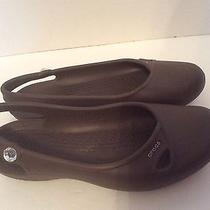 Crocs Shoes Olivia 8 Womens Slingback Flats Brown Sandals Crystal Bling Photo