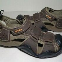 Crocs Size 8 Swiftwater Fisherman Brown Leather Sandals New Men's Shoes Photo