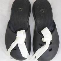 Crocs Used Women's 7 Black/white Bow Sandals/mules/clogs/slides/flats Photo