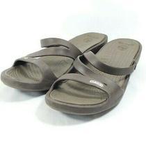 Crocs Wedge Heel Slide Sandals Women's Sz 9 Brown (Sb12ep) Photo