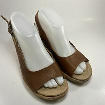 Crocs Wedge Heels Womens Size 8 Brown Open Toe Adjustable Buckle Plaid Interior Photo