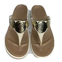Crocs Wedge Sandals Sanrah Embellished Flip Flops Sz 7 Women Gold Hammered Ivory Photo