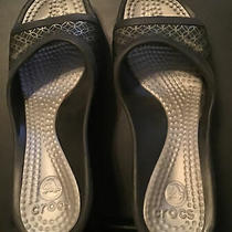 Crocs Wedge Slide Sandals Womens Size 7 Black With Grey Accent Photo