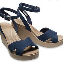 Crocs Women's Leigh Ii Cross Strap Ankle Wedge Sandals Blue Navy Size W 9 Photo