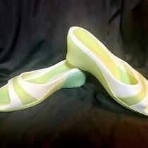 Crocs Women's Sassari Lime Green/white 11 Open Toe Wedge Heel  Guc Photo