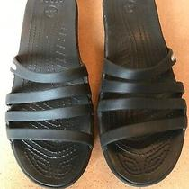 Crocs Womens Size 9 Blue Comfort Wedge Slide Sandals Black Photo