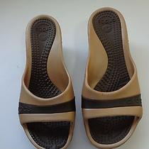 Crocs Women's Tan and Brown Wedge Slip on Heels Size 9 Photo