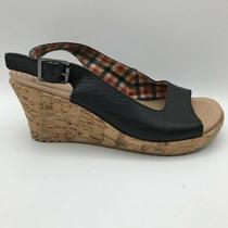 Crocs Womens a-Leigh Slingback Sandals Black Buckle Wedge Heels Leather 6 Photo
