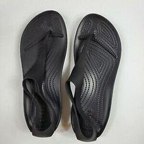 Crocs Womens Iconic Comfort Sexi Flip Flop T Strap Sandal 11354 Black Size 9 New Photo