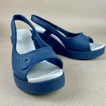 Crocs Womens Slingback Wedge Sandals Blue White Open Toe Slip on Casual Heels 8 Photo