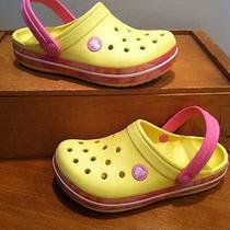 Crocs Yellow & Pink Crocband Slip on Casual Water Athletic Shoes Girls C 12-13  Photo