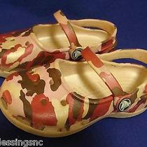 Crocs Youth Girls Size 10-Pink/brown Camo-Gently Worn Photo