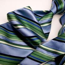 croft&barrow Aqua Green and White vs Blue and Black Stripesilk Tie 8-14-E Jp Photo