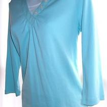 Croft & Barrow Size S New   Nwot  Pastel Aqua Knit Top W/insert  7 Photos Photo