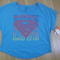Crop Shirt Superman Size Large Aqua Nwt Jrs  Photo