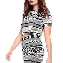 Crop Sweater Monochrome Pattern Forever 21 Urban Outfitters Photo