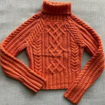 Cropped Chunky Cable Sweater Size Xs Turtleneck Orange Photo