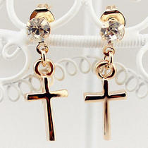 Cross Earrings for Women Lady Girls 14k Plated Rosegold Photo