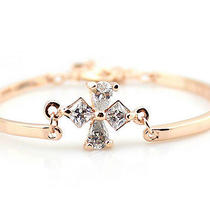 Cross Zircon Bracelet for Women Lady Girls 14k Plated Rosegold Photo